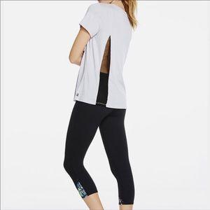 Fabletics Grey w Black Mesh T-shirt, Size M